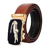 Black Friday Deals Cyber Monday Deals Week-Men Genuine Leather Belt Crocodile design Automatic Buckle (Brown-b)