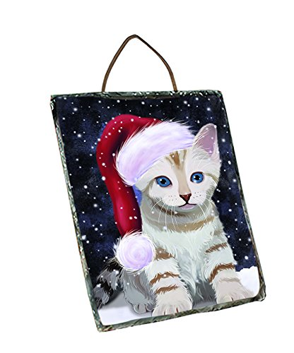 Let It Snow Happy Holidays Bengal cat Christmas Wall Décor Hanging Photo Slate SLTH401
