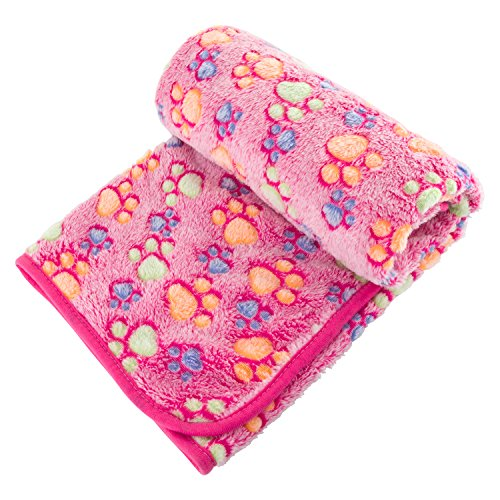 UTOPIPET Pet Blanket for Dog Cat Animal 39 x 31 Inches Fleece Paw Print All Year Round Puppy Kitten Bed Warm Sleep Mat Fabric Indoors Outdoors (Pink)