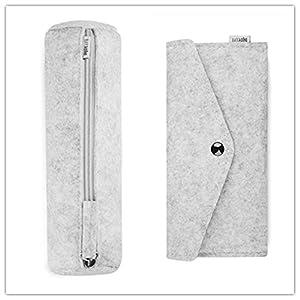 Trend Style Felt Eyeglasses Sunglasses Case Bag Wool Pencil Pen Case Storage Holder Pouch Makeup Cosmetic Brush Holder Bag 2 Pack (Light Grey)