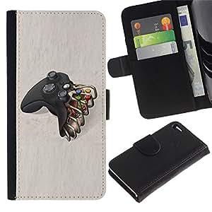 Apple iPhone 4 / iPhone 4S Modelo colorido cuero carpeta tirón caso cubierta piel Holster Funda protección - Controller Tv Console Play