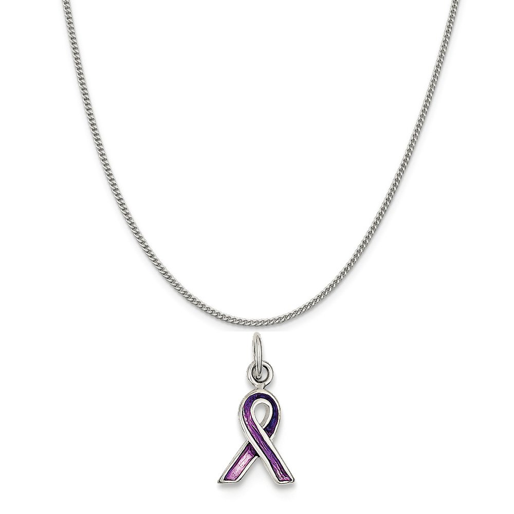 16-20 Mireval Sterling Silver Purple Enameled Awareness Silver Charm on a Sterling Silver Chain Necklace