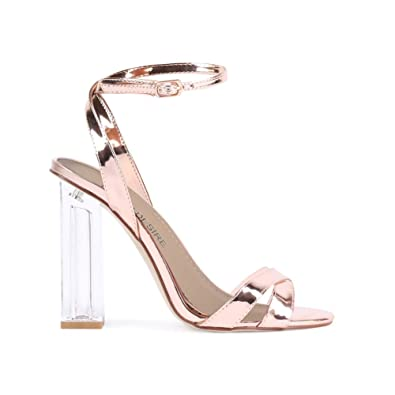 567bd49efb4 Womens Buckle Perspex Metallic Straps Cut Out Block Heel Rose Gold 3-8