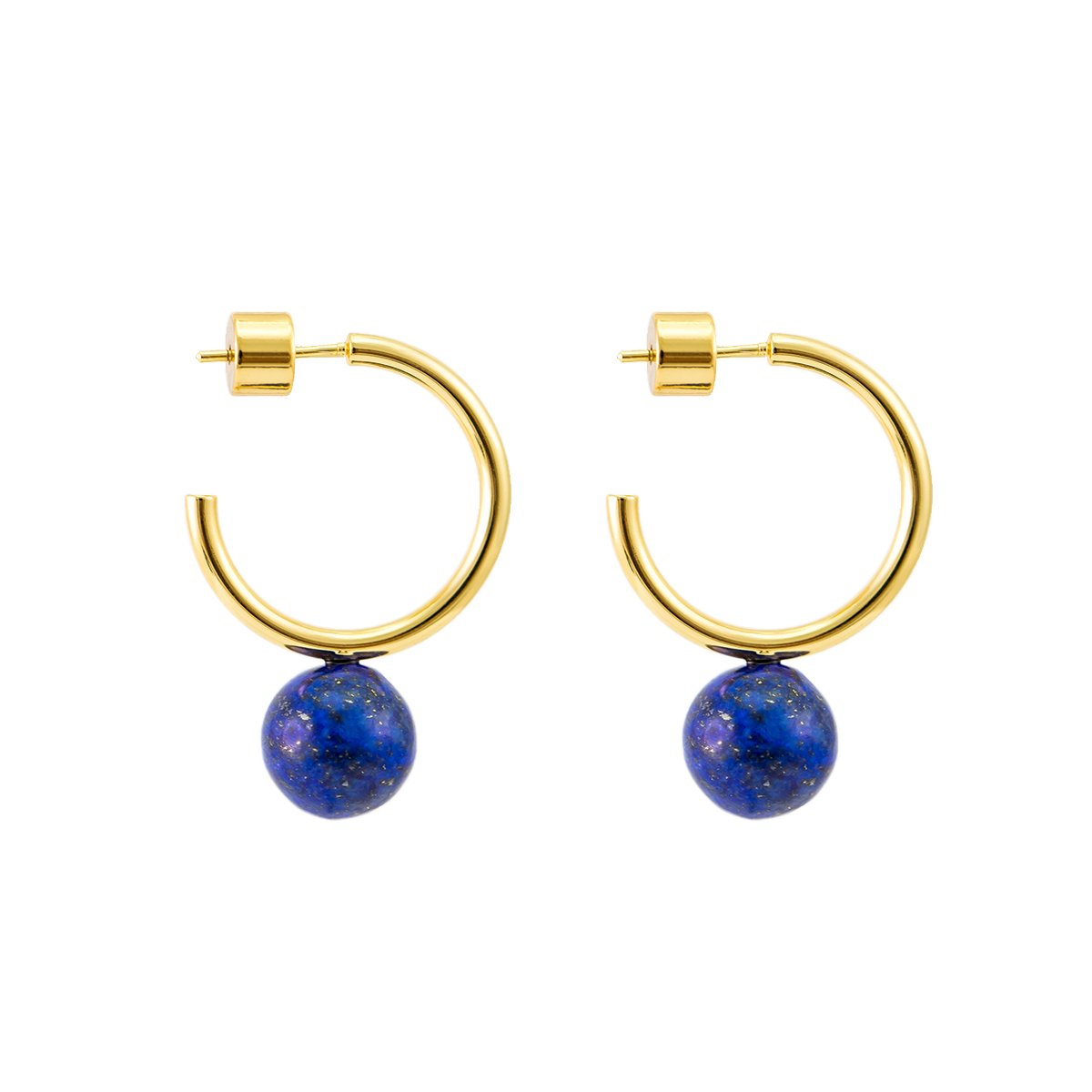 925 Sterling Silver Post 14k Gold Plated Open Cuff Hoop Earrings Natural Gemstone Pearl Hooped Stud Post Minimalist Earrings for Women Ladies Girls Gifts (Small C Shape Gold & Lapis Lazuli)