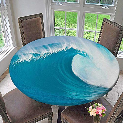 Mikihome Round Fitted Tablecloth Collection Scene of a Clean Big Sea Wave Moving Against Strong Wind View for All Occasions 40