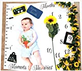 Monthly Milestone Blanket for Babies | First Year Growth Tracker | Photo Backdrop Prop for Newborn, Infant Toddler | 40x40 inches | Ideal Girl Boy | Create Moments to Memories