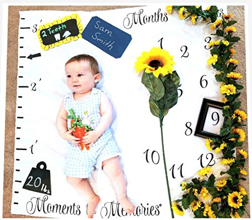 - Monthly Milestone Blanket for Babies | First Year Growth Tracker | Photo Backdrop Prop for Newborn, Infant Toddler | 40x40 inches | Ideal Girl Boy | Create Moments to Memories