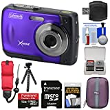Coleman Xtreme C20WP Shock & Waterproof HD Digital Camera (Purple) with 16GB Card + Case + Float Strap + Flex Tripod + Kit