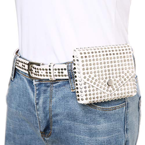 HZMAN Womens Leather Belt Fanny Pack With Removable Belt Metal Spike Studded Waist Pouch Fashion Belt Bags, Two Sizes (Small - Studded Spike Belt