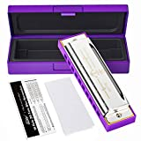 Eastar Major Blues Harmonica 10 Holes C Key Beginner Harmonica For Kid and Adult With Hard Case And Cloth, Purple