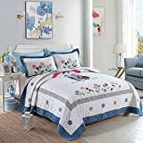 XUEXIN 100% Cotton Love 3 pieces Quilted Bedspread set ,Two Color King Size , pool