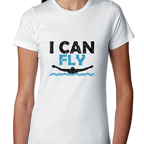 I Can Fly Swimming Butterfly Icon Swimmer Women's Cotton T-Shirt