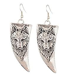 Vintage Gold Plated Wolf Horn Drop Dangle Earrings for Women Gift