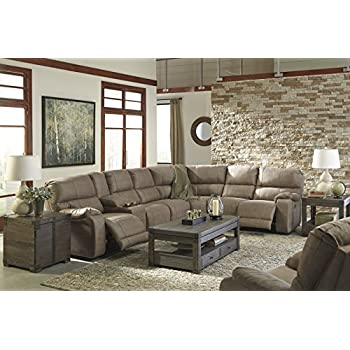 Bohannon Contemporary Taupe Color Fabric Sectional Sofa And Power Rocker  Recliner