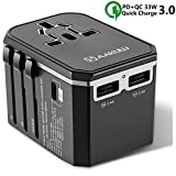 International Power Adapter, Universal Travel Power Adapter with USB C PD/QC 3.0 Quick Charge and Dual 2.4A USB for UK, EU, AU, Asia Cover 150+ Countries, All in one Worldwide AC Power Plug Adapter