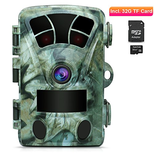 AIMTOM T905 Hunting Trail Camera With 32G SD Card, 2Pcs No Glow Super Power IR LEDs 2.4 Inch Screen 16MP 1080P Stealthy Waterproof Wildlife Game Cam 130° Wide Angle 0.2S Fast Trigger 82Ft Night Vision by AIMTOM