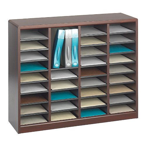 Safco Products 9321MH E-Z Stor Wood Literature Organizer, 36 Compartment, Mahogany by Safco Products