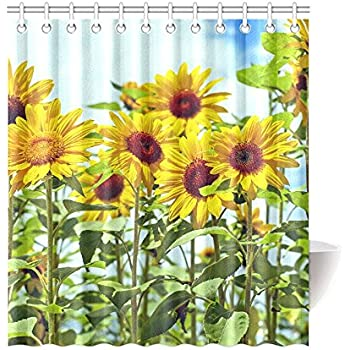 CTIGERS Beautiful Sunflowers Shower Curtain Polyester Fabric Bathroom Decor 66 X 72 Inch