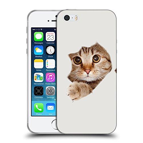 GoGoMobile Coque de Protection TPU Silicone Case pour // Q05670631 Trou papier chat Platino // Apple iPhone 5 5S 5G SE