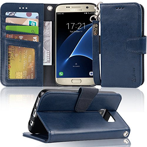 Galaxy s7 Case, Arae [Wrist Strap] Flip Folio [Kickstand Feature] PU Leather Wallet case with ID&Credit Card Pockets for Samsung Galaxy S7 (Navy Blue)