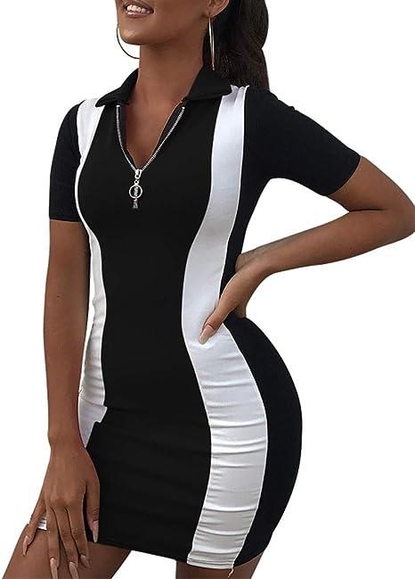 Amazon.com: Cailami Mini vestido de club, con cremallera ...
