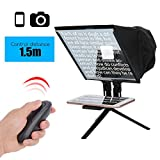 5 Inch Portable Teleprompter Kit Support Wireless Remote Control for DSLR Camera/Tablet/Smartphone
