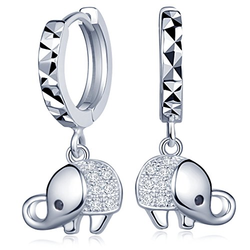 Infinite U Women's Elephant Hoop Earrings 925 Sterling Silver Cubic Zirconia Drops Dangles Loop Earrings Silver