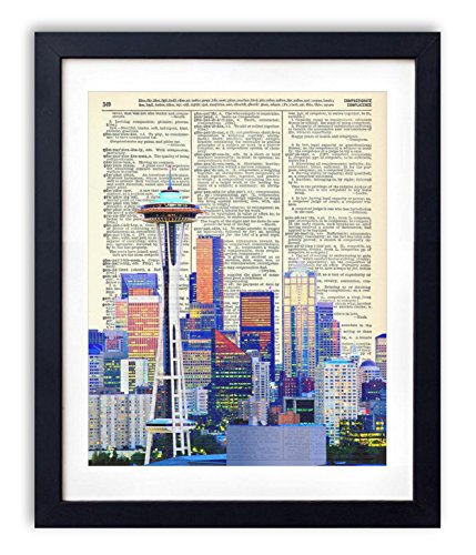 Seattle Color Skyline Upcycled Vintage Dictionary Art Print 8X10