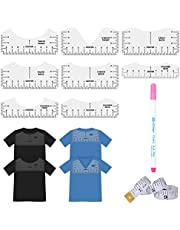10Pcs T-Shirt Ruler Guide - Idefair V-Neck Alignment Tool for Fabric, Center Designing Clothing Back, Include T-Shirt Alignment Ruler, Fabric Marker Pen and Measuring Ruler for Adult Youth Children