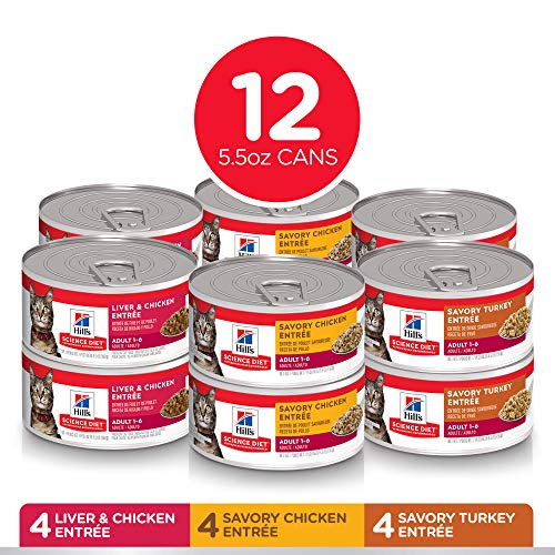 Hill's Science Diet Wet Cat Food, Adult, Minced Savory Recipe Variety Pack, 5oz Cans, 12 Pack