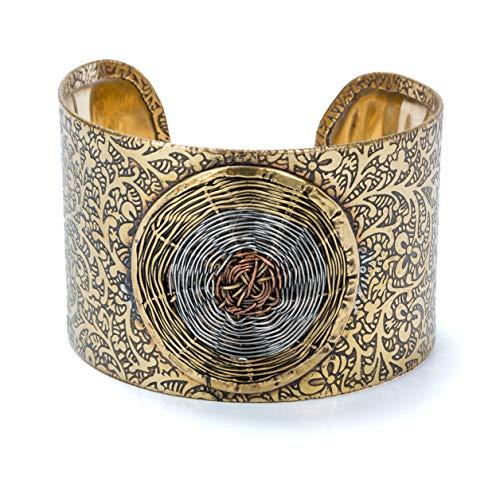 Basketweave Earrings Jewelry - SPUNKYsoul New! Artisan Boho Metal Cuff Bangle Bracelet for Women in Gold and Multi-Toned Jewelry