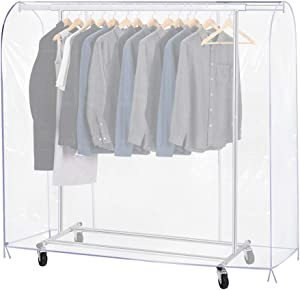 Growson Garment Rack Cover,5Ft Transparent Dustproof Clothes Cover with 2 Durable Full-Length Zippers, Waterproof Cover for Clothing Hanging Rack (59x20x52 inch)
