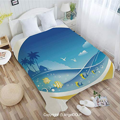 (AngelDOU Warm air Conditioner Flannel Blanket W72 xL86 Exotic Sea Waves in Fauna Frame with Gulls and Coconut Trees Journey for Bed Cover Sofa car use.)