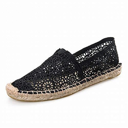 De Encaje Fuxitoggo Eu Hueco Lino Mujer Negro color Zapatos Tamaño 40 Superficie Negro Inferior Transpirable Malla Casuales Parte pp5YwqH