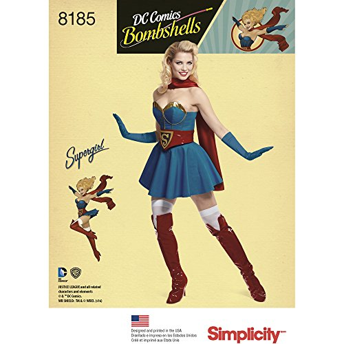[Simplicity 8185 D.C Bombshells Super Girl Costume for Miss, R5 (14-16-18-20-22)] (Supergirl Costume Size 22)