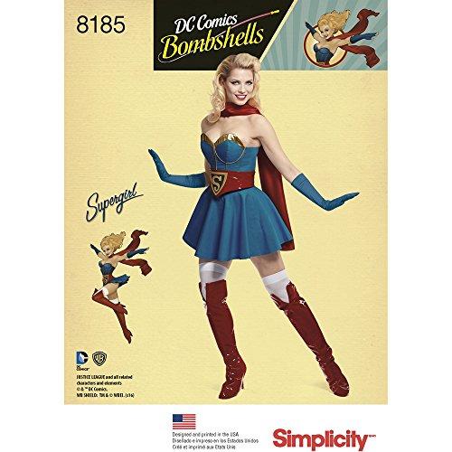 Simplicity 8185 D.C Bombshells Super Girl Costume for Miss, R5 (Supergirl Costume Pattern)