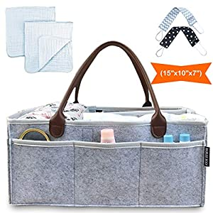 Baby Diaper Caddy Organizer, Baby Shower Gift Basket for Girls Boys – Nursery Storage Tote, Baby Registry Must Haves | Extra Long Handles – White Hearts, Large 14x10x7 Inches
