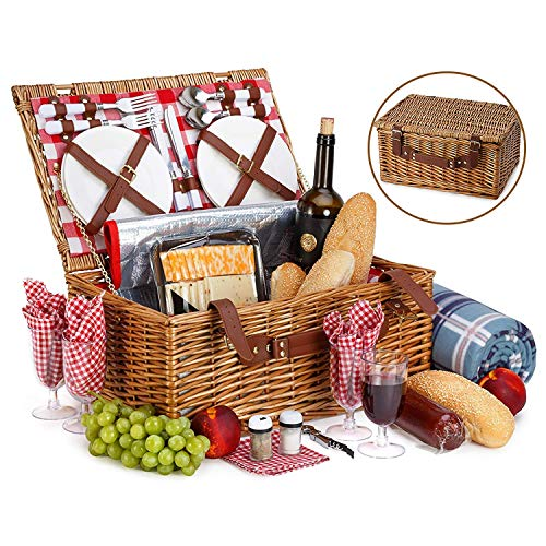 (Picnic Basket For 4 With Insulated Cooler Bag - 30 Piece Kit Includes Wicker Basket with Stainless Steel Flatware, Ceramic Plates, Glasses, Linen Napkins and Blanket and More - by Vysta)