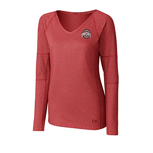 Cutter & Buck NCAA Ohio State Buckeyes Adult Women Long Sleeve Victory V-Neck, Medium, Cardinal Red