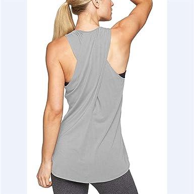 Camisa de Yoga con Espalda Cruzada para Mujer Entrenamiento sin Mangas Camiseta sin Mangas Activa Chaleco Deportivo de Gimnasio Camisa sin Mangas Gimnasio: Amazon.es: Ropa y accesorios