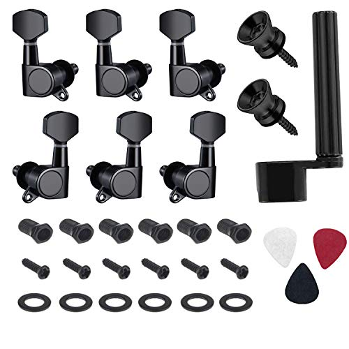 Canomo 6 Pieces Sealed Guitar String Tuning Pegs Keys 3 Left 3 Right Guitar Machine Heads Knobs With Strap Button Locks, Picks and Guitar String Winder for Electric or Acoustic Guitar(Black) ()