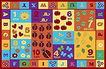 """Furnish my Place 3' x 5' Kids ABC area rug Educational Alphabet Letter & Numbers Multicolor Actual size 3'3"""" x 5"""" anti skid"""