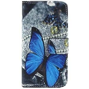 patrón de mariposa de la PU cuero caso de cuerpo completo con soporte para iphone 5c