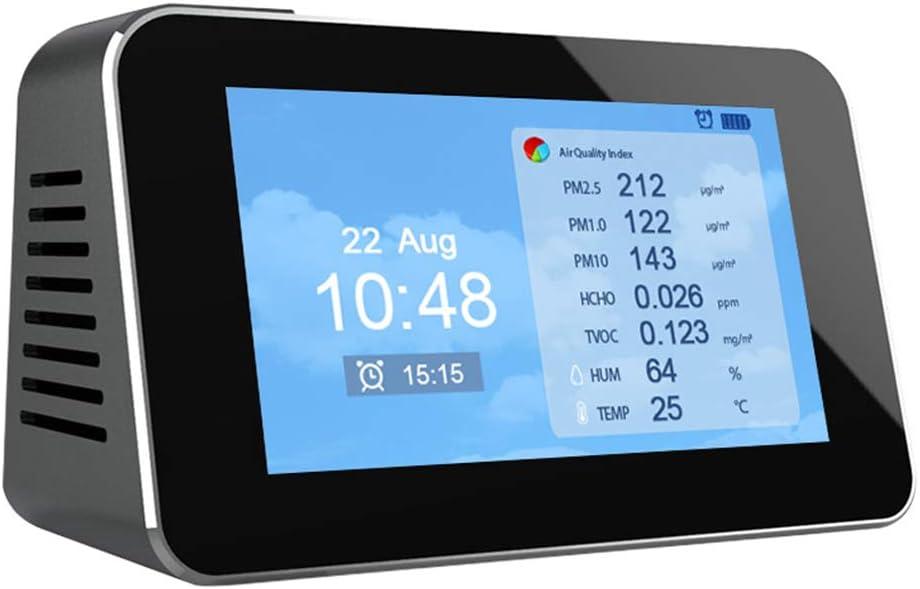 Detector AQI DM601A TVOC S-TROUBLE Pantalla Digital LCD multifunci/ón Monitor de Calidad del Aire de detecci/ón r/ápida Medidor de contaminaci/ón de Gas Detector PM2.5 CO2