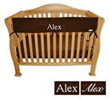 Personalized Embroidered Name Trend Lab Crib Wrap Rail Guard for Long Rail (Brown)