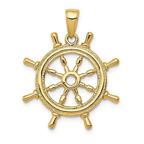 14k Yellow Gold 3Dimensional Ship's Wheel -