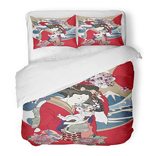 Emvency Decor Duvet Cover Set Full/Queen Size Traditional Japanese Wave Women in Kimono Her Cat and Koi Carp Geisha Girl 3 Piece Brushed Microfiber Fabric Print Bedding Set Cover]()