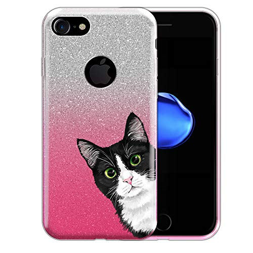 FINCIBO Case Compatible with Apple iPhone 7 / iPhone 8, Shiny Silver Pink Gradient Glitter TPU Protector Cover Case for iPhone 7/8 (NOT FIT 7 Plus, 8 Plus) - Black White Tuxedo Cat Hide and Seek ()