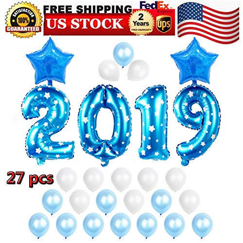 Balloons, 2019 Balloons New Year Balloon Banner Backdrop Kit, Blue 2019 Foil Number Balloons, Silver and White Latex Balloons for Events New Years Eve Birthday Party Decoration Supplies Decorations