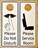 Please Service Room/Please Do Not Disturb Premium Quality PVC Door Hanger; Black Text on White Background; 3.25'' Wide x 8'' Tall (100)